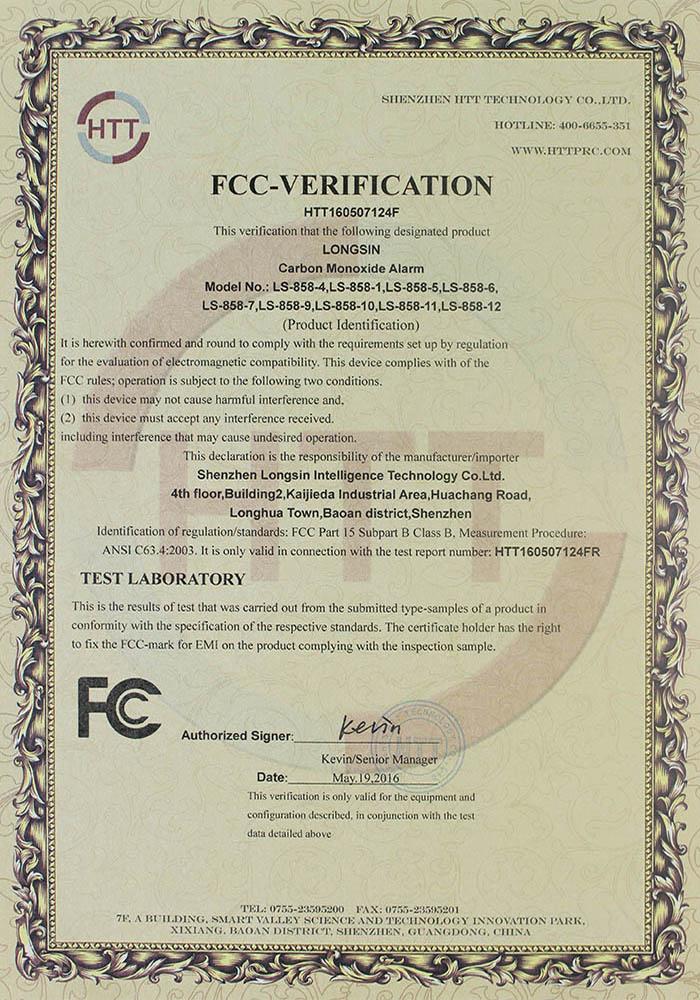 carbon monoxide alarm FCC certificate