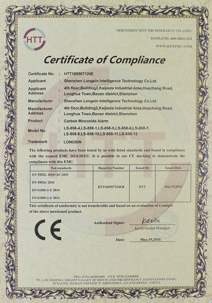 carbon monoxide CE certificate