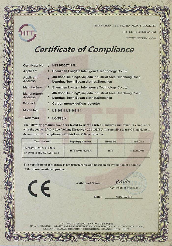 carbon monoxide & gas detector CE certificate