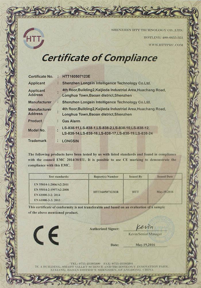 gas alarm CE certificate