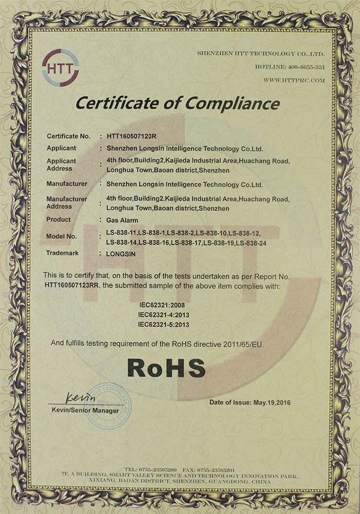 gas alarm RoHS certificate